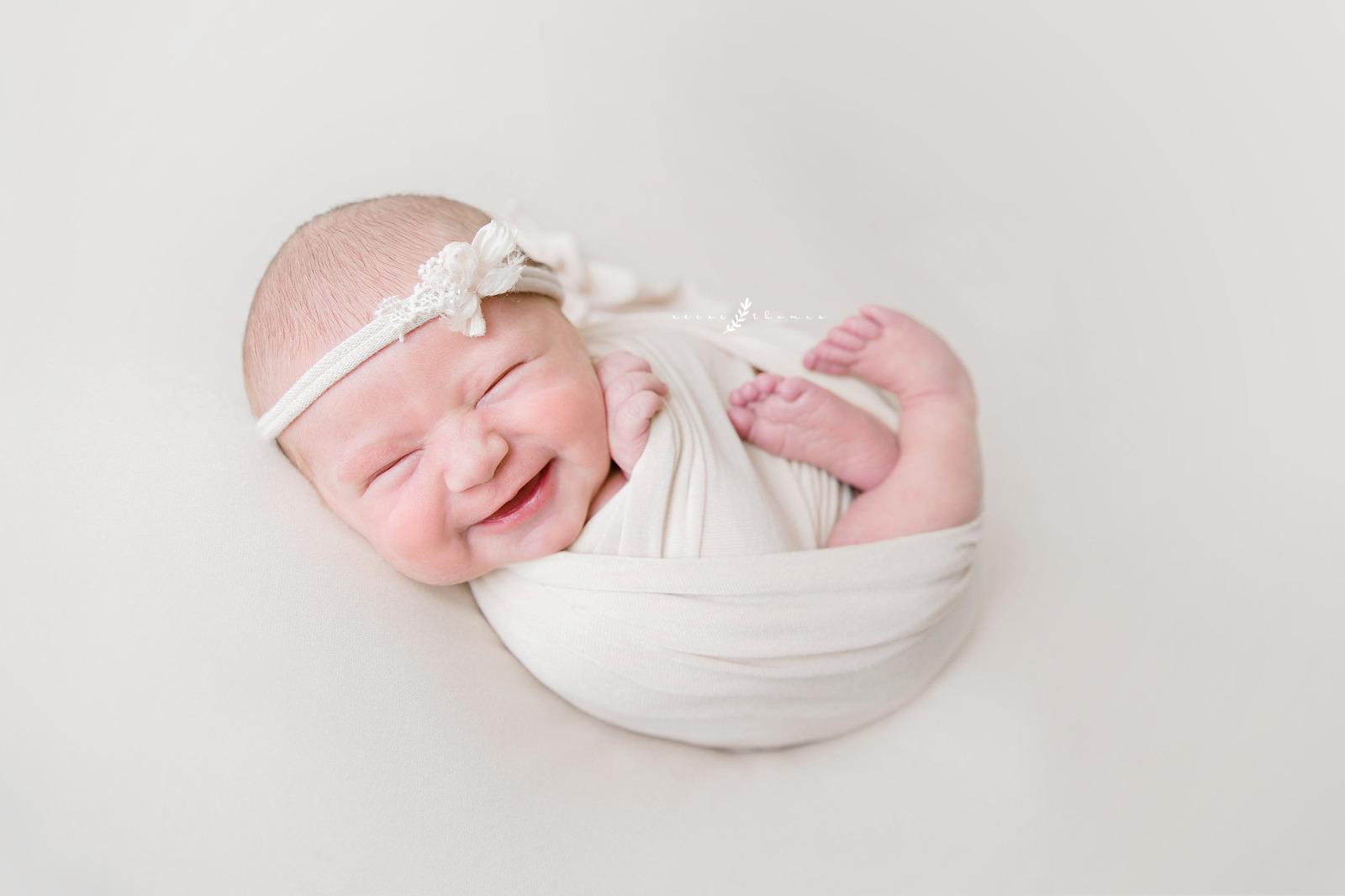 Orange County Newborn Portfolio Newborn Baby Girl in White